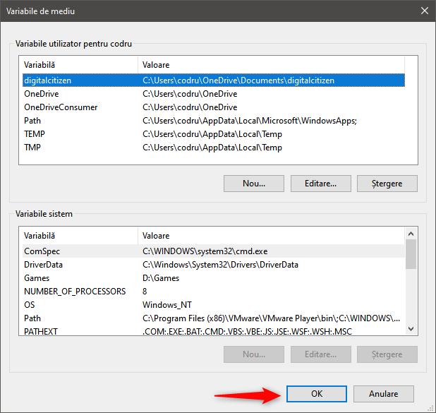 Salvarea noii variabile de utilizator în Windows 10