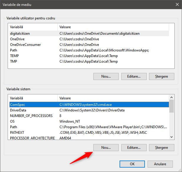 Începerea procesului de creare a unei noi variabile de sistem Windows