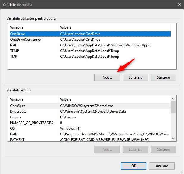 Fereastra Variabile de mediu din Windows 10