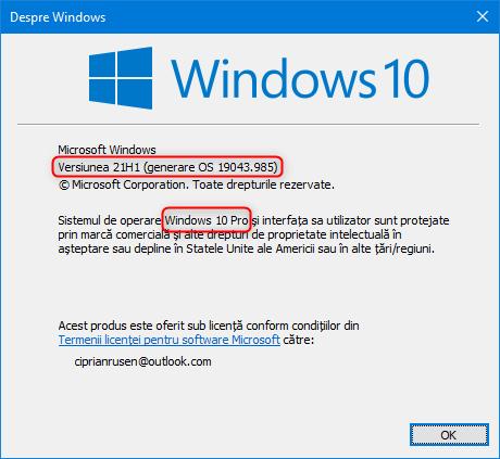 Despre Windows îți spune versiunea de Windows 10 pe care o ai