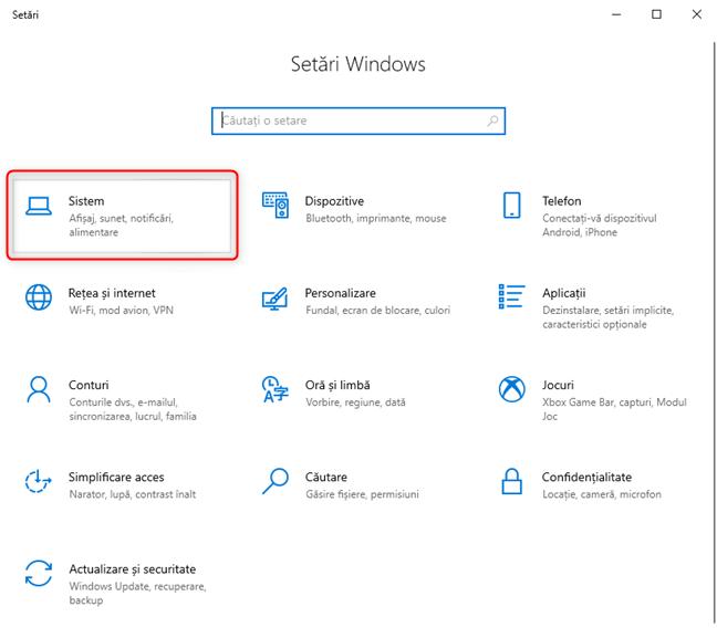 În Setările Windows 10, mergi la Sistem