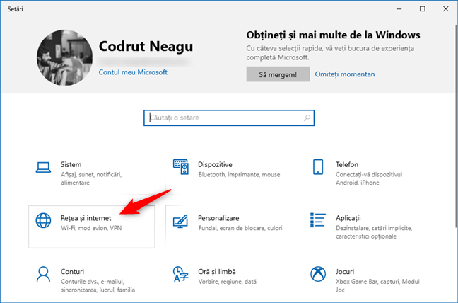 Categoria Rețea și internet din Setările Windows 10