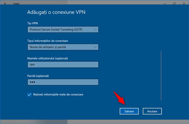 Adăugare conexiune VPN: Salvarea conexiunii VPN