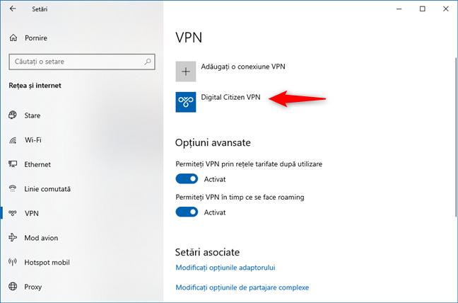 Selectarea conexiunii VPN