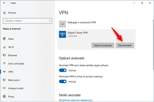 Butonul Deconectare de la VPN