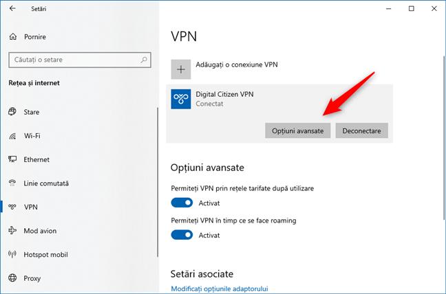 Deschiderea opțiunilor avansate pentru o conexiune VPN
