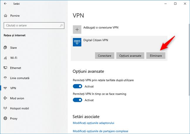 Ștergerea unei conexiuni VPN din Windows 10