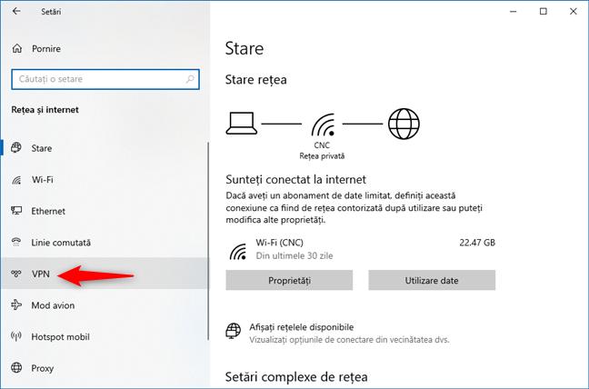 Selectare VPN în Rețea și internet