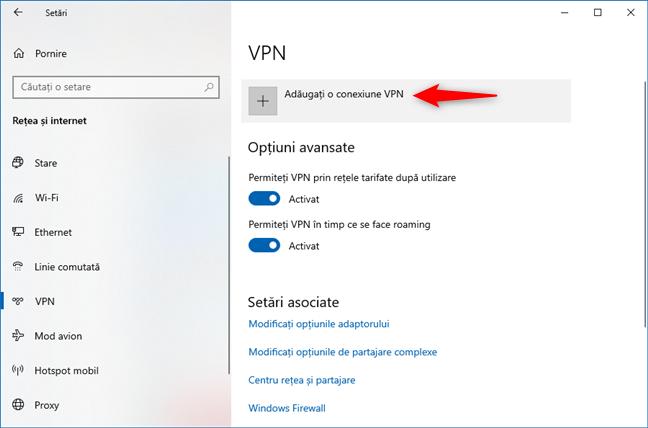 Opțiunea Adăugați o conexiune VPN