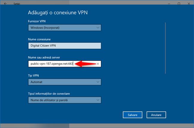 Adăugarea unei conexiuni VPN: Introdu Nume sau adresă server