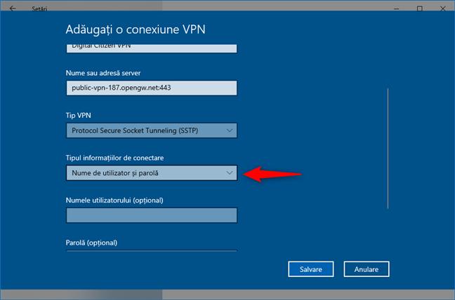 Adăugare conexiune VPN: Alegerea modului de conectare la VPN