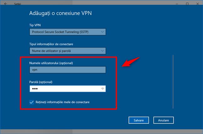 Adaugă o conexiune VPN: Introducerea numelui de utilizator și a parolei