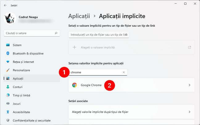 Căutarea browserului web care va fi setat ca implicit