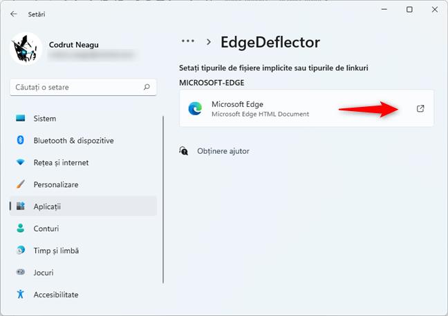 Deschiderea intrării Microsoft Edge din lista de tipuri fișiere și linkuri asociate cu EdgeDeflector