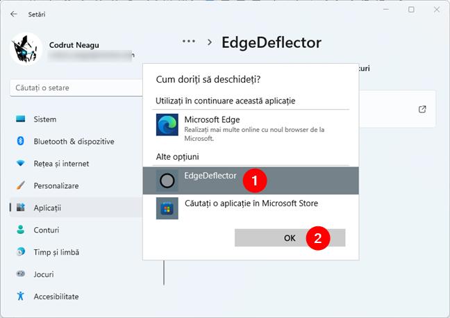 Setarea EdgeDeflector ca implicit