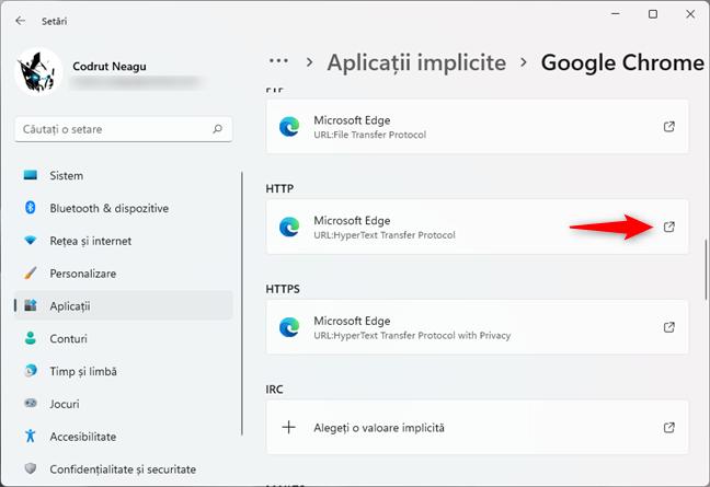 Deschiderea intrării HTTP de pe pagina de setări a unui browser