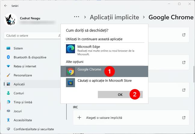 Selectarea noului browser web implicit în Windows 11