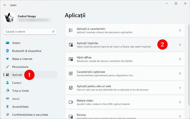 Deschidere Aplicații implicite în Setările din Windows 11