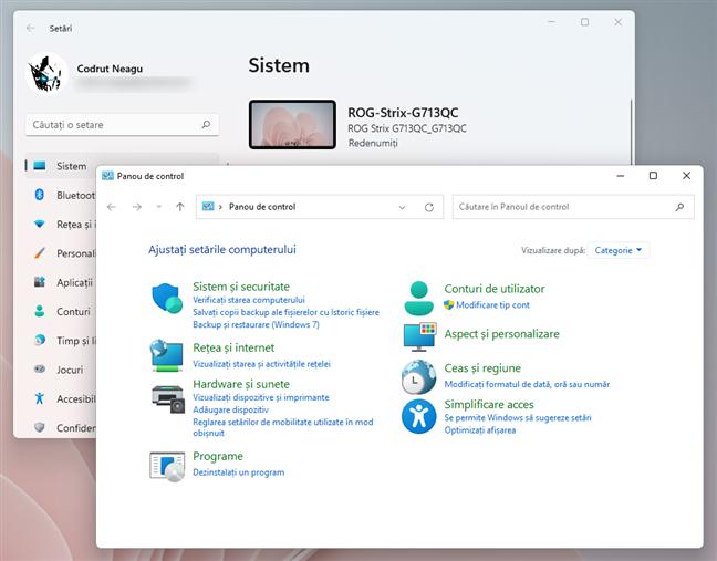 Aplicația Setări și Panoul de control din Windows 11
