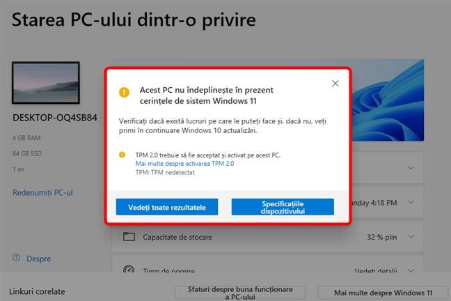 Controlul integrității calculatorului ne spune că acest calculator nu poate rula Windows 11