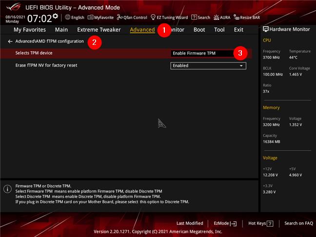 Activarea AMD Firmware TPM pe o placă de bază ASUS