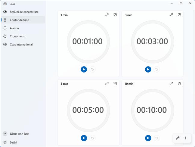 Setează un cronometru folosind Contorul de timp din aplicația Ceas