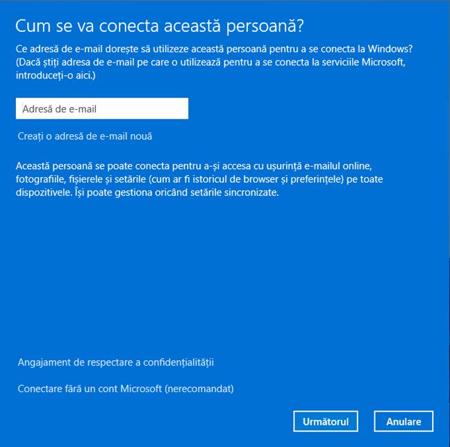 Introdu adresa de email a contului Microsoft