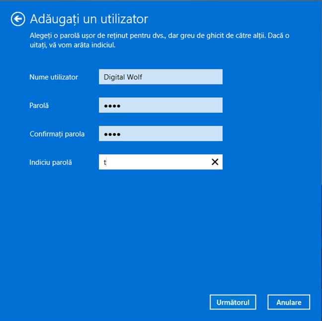 Introdu detaliile noului cont de utilizator