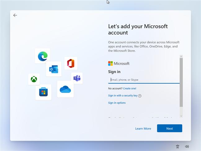 În timp ce instalezi Windows 11, introdu adresa de e-mail a contului Microsoft