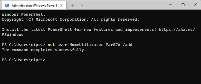 net user NUME PAROLA /add