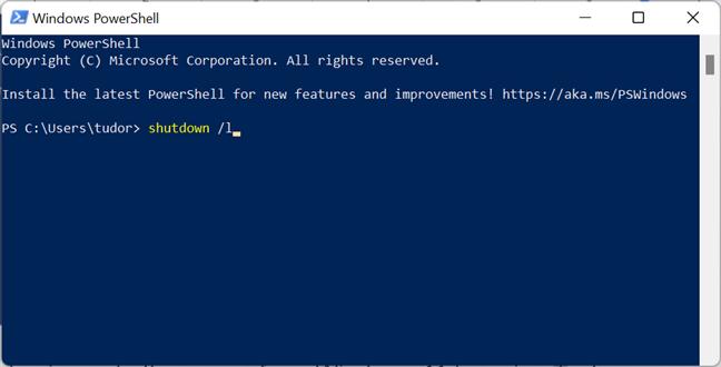 Comanda de consolă pentru deconectarea de la Windows 11