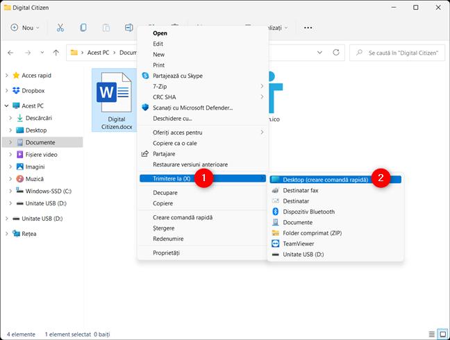 Creează pe desktop o scurtătură pentru fișierul tău