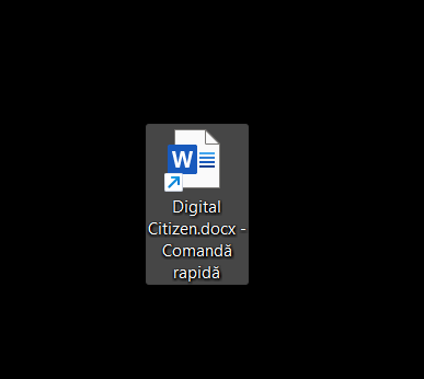 Scurtătura către fișier este adăugată pe desktop
