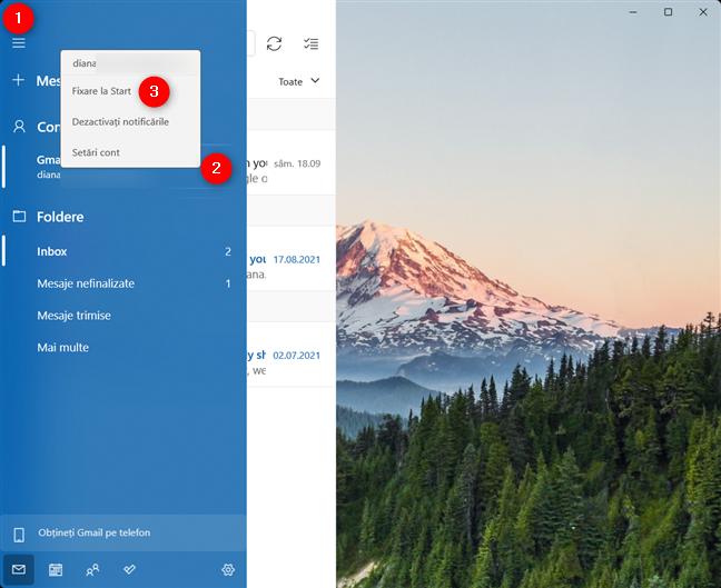 Fixează la Start un cont de e-mail în Windows 11