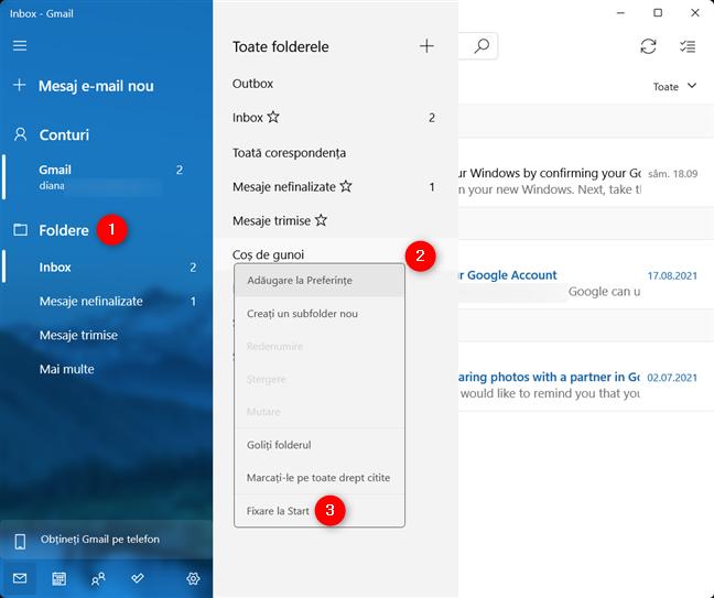 Fixează la Start un folder din e-mail în Windows 11