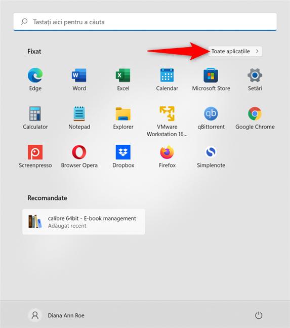 Accesează Toate aplicațiile din Meniul Start