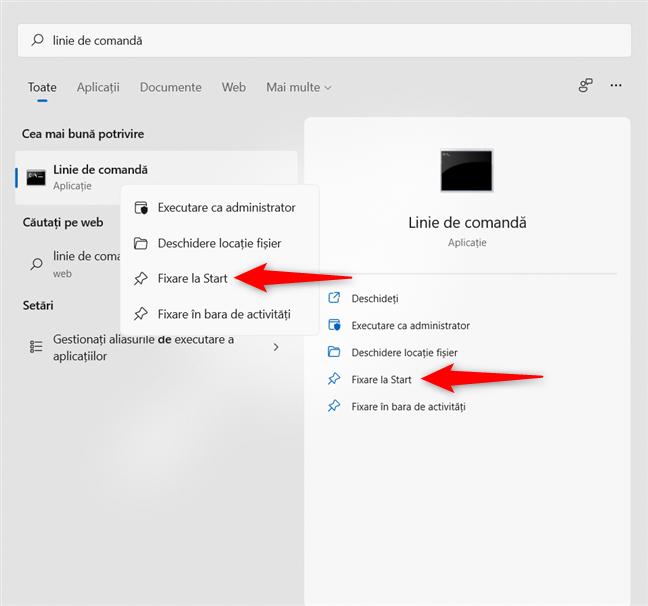 Caută o aplicație pentru a o fixa la Start în Windows 11