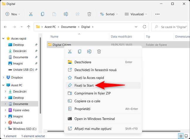Adaugă un folder la Meniul Start din Windows 11