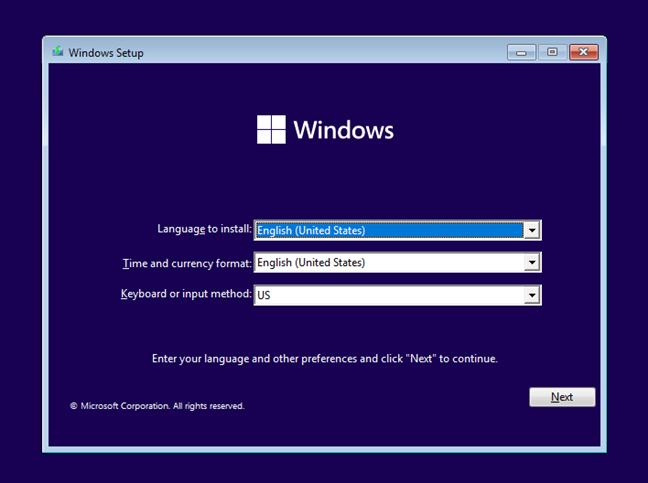 Windows 11 Setup - Alege limba, ora, moneda și tastatura