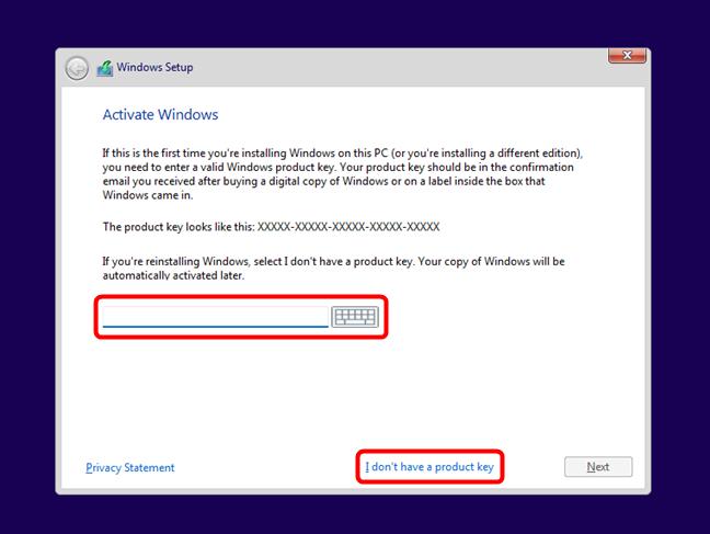 Introducerea cheii de licență pentru Windows 11