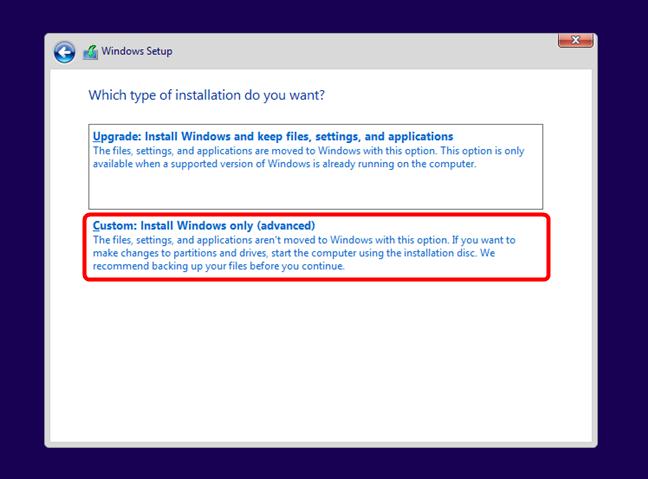Apasă pe Custom: Install Windows only (advanced)