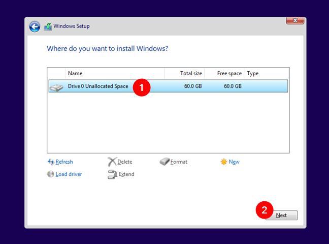 Selectează partiția pe care se instalează Windows 11