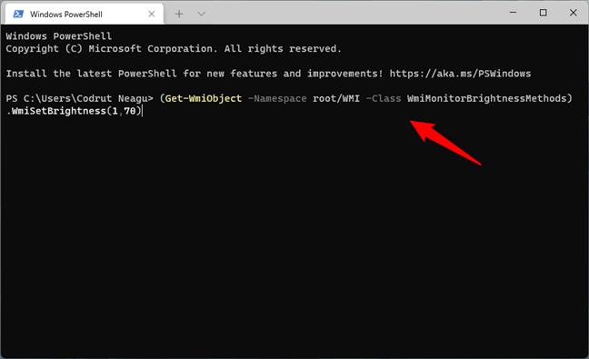Cum ajustezi luminozitatea în Windows 11 din Terminal sau PowerShell