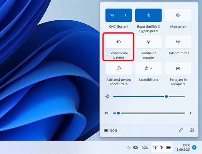 Butonul Economisire baterie din Windows 11