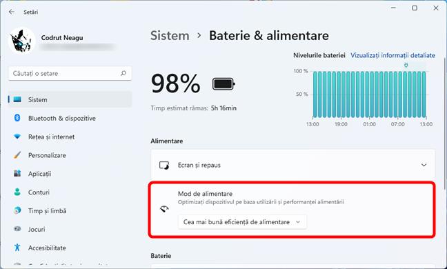 Schimbarea modului de alimentare în Windows 11