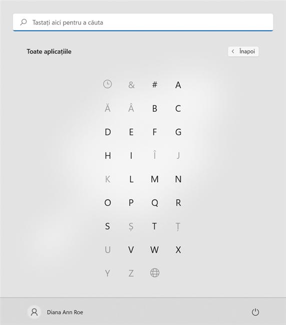 Apasă pe o literă pentru a vedea aplicațiile din secțiunea respectivă