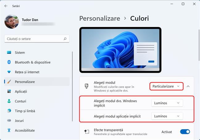 Selectând Particularizare poți avea moduri diferite în Windows și aplicații