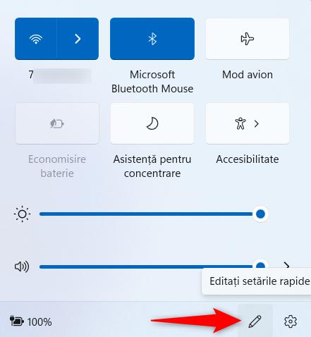 Editarea setărilor rapide din Windows 11