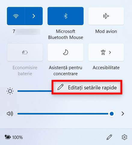 Selectează Editați setările rapide din meniul clic dreapta