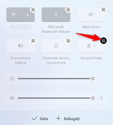 Apasă pe pictograma pentru anularea fixării pentru a elimina un buton din Setările rapide din Windows 11